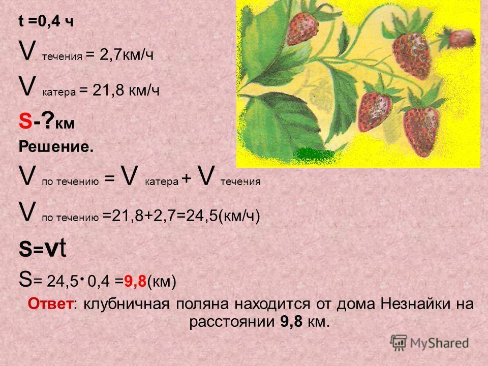 t =0,4 ч V течения = 2,7км/ч V катера = 21,8 км/ч S- ? км Решение. V по течению = V катера + V течения V по течению =21,8+2,7=24,5(км/ч) S=vtS=vt S = 24,5 0,4 =9,8(км) Ответ: клубничная поляна находится от дома Незнайки на расстоянии 9,8 км.