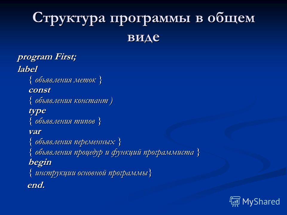Структура программы в общем виде program First; label { объявления меток } const { объявления констант ) type { объявления типов } var { объявления переменных } { объявления процедур и функций программиста } begin { инструкции основной программы} end