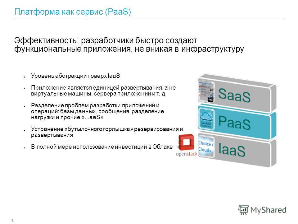 6 Платформа как сервис (PaaS) Уровень абстракции поверх IaaS Приложение является единицей развертывания, а не виртуальные машины, сервера приложений и т. д. Разделение проблем разработки приложений и операций: базы данных, сообщения, разделение нагру