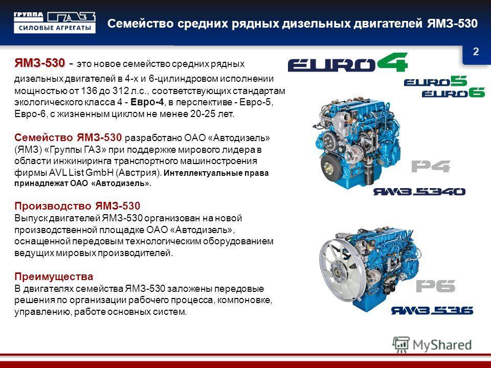 2 Семейство средних рядных дизельных двигателей ЯМЗ-530 ЯМЗ-530 - ЯМЗ-530 - это новое семейство средних рядных дизельных двигателей в 4-х и 6-цилиндровом исполнении мощностью от 136 до 312 л.с., соответствующих стандартам экологического класса 4 - Ев