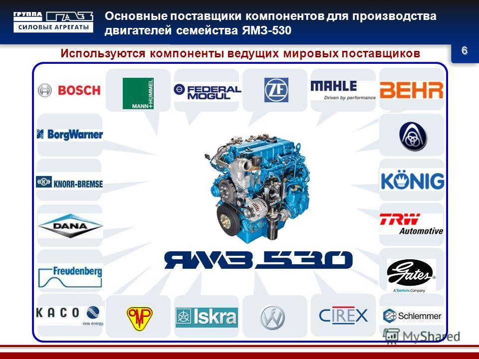 6 Основные поставщики компонентов для производства двигателей семейства ЯМЗ-530 Используются компоненты ведущих мировых поставщиков