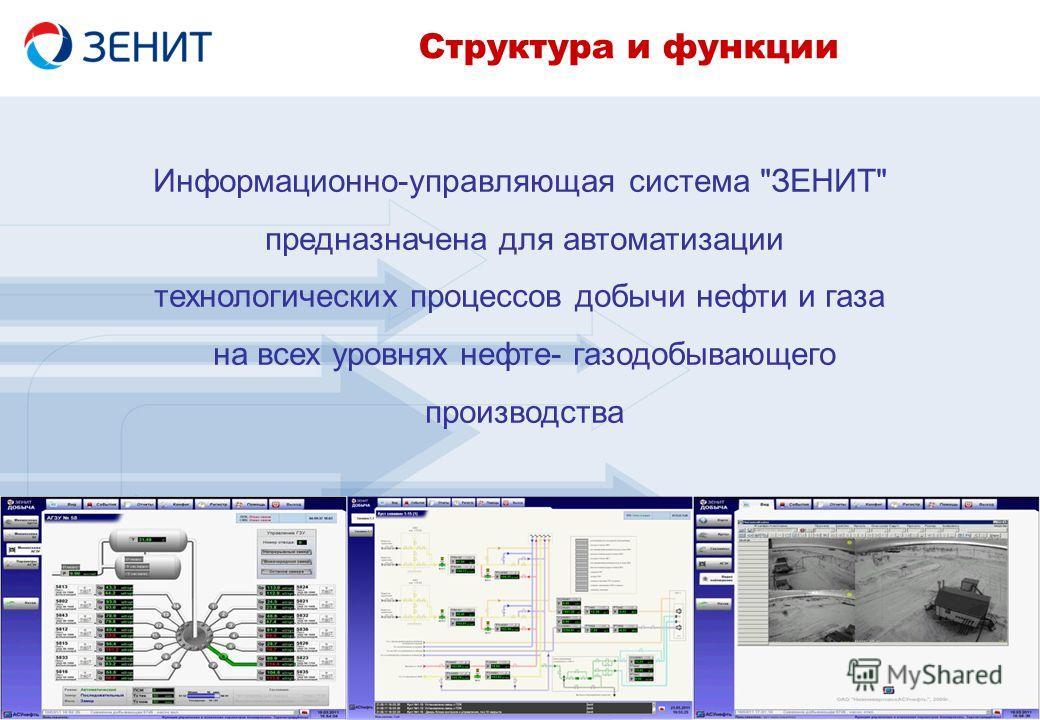 Информационно-управляющая система ЗЕНИТ предназначена для автоматизации технологических процессов добычи нефти и газа на всех уровнях нефте- газодобывающего производства Структура и функции