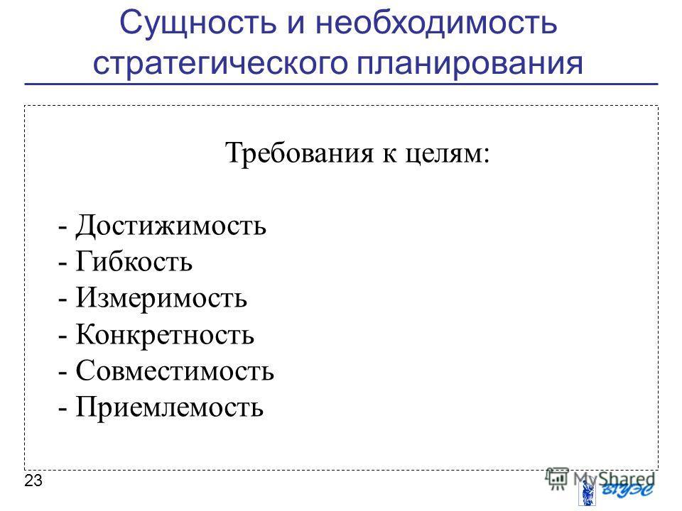 Сущность и необходимость стратегического планирования 23 Требования к целям: - Достижимость - Гибкость - Измеримость - Конкретность - Совместимость - Приемлемость