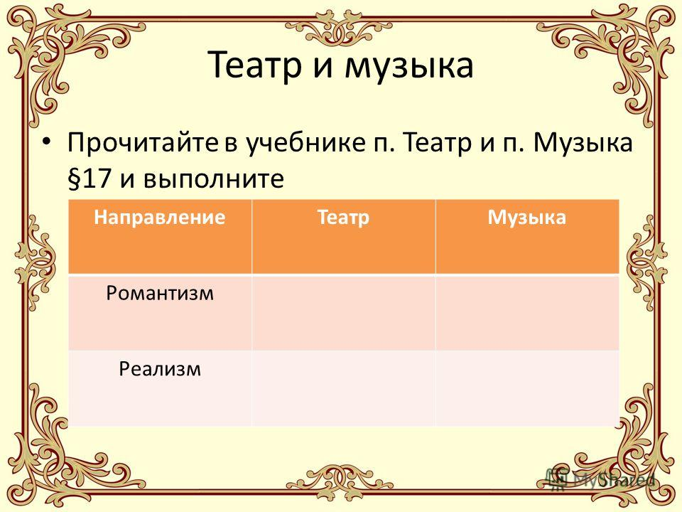 Театр и музыка Прочитайте в учебнике п. Театр и п. Музыка §17 и выполните НаправлениеТеатрМузыка Романтизм Реализм