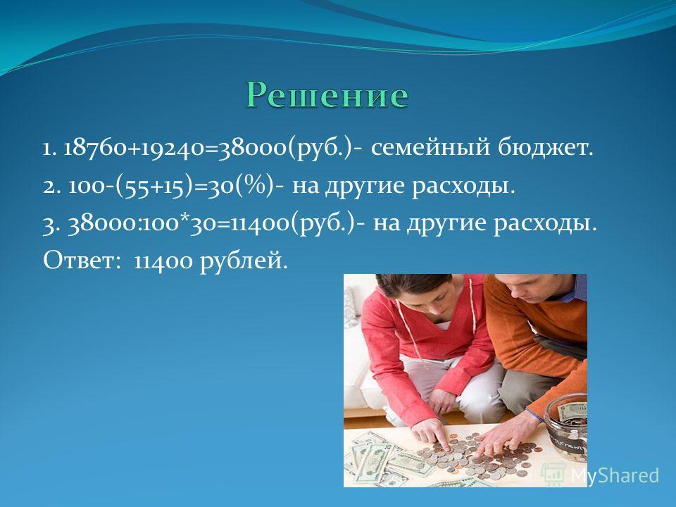 1. 18760+19240=38000(руб.)- семейный бюджет. 2. 100-(55+15)=30(%)- на другие расходы. 3. 38000:100*30=11400(руб.)- на другие расходы. Ответ: 11400 рублей.