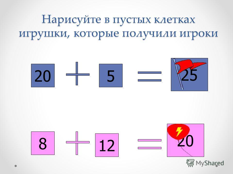 205 25 8 12 20 Нарисуйте в пустых клетках игрушки, которые получили игроки