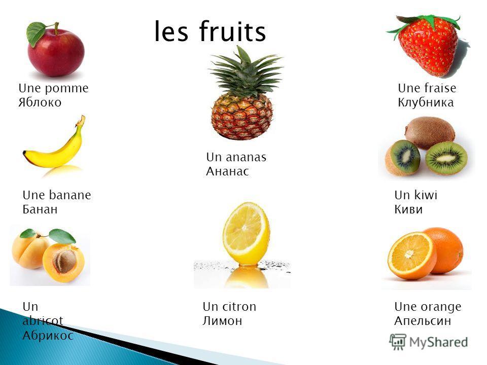 Une pomme Яблоко Une banane Банан Un abricot Абрикос Une fraise Клубника Un kiwi Киви Une orange Апельсин Un ananas Ананас Un citron Лимон les fruits