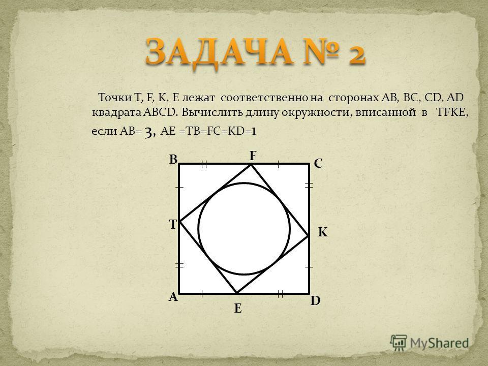 Точки T, F, K, E лежат соответственно на сторонах AB, BC, CD, AD квадрата ABCD. Вычислить длину окружности, вписанной в TFKE, если AB= 3, AE =TB=FC=KD= 1 F C K E D B T A
