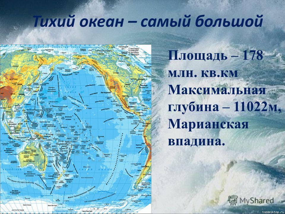 Тихий океан – самый большой Площадь – 178 млн. кв.км Максимальная глубина – 11022м, Марианская впадина.