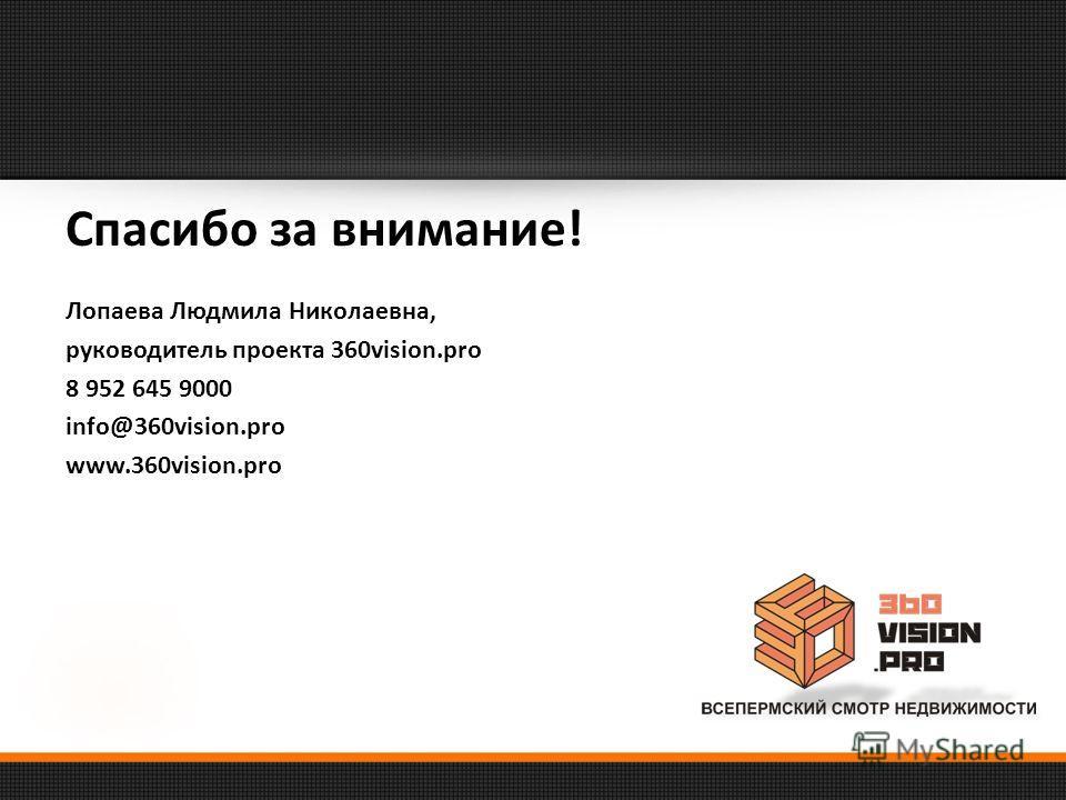 Спасибо за внимание! Лопаева Людмила Николаевна, руководитель проекта 360vision.pro 8 952 645 9000 info@360vision.pro www.360vision.pro
