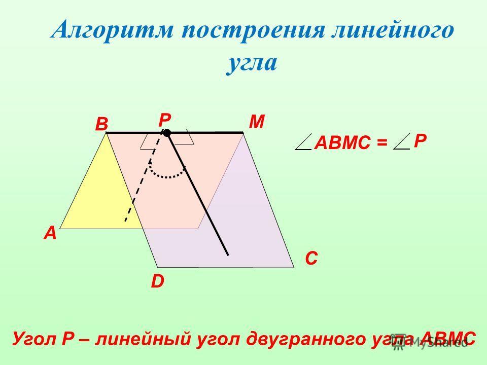 Алгоритм построения линейного угла А В М D Р С АВМС = Р Угол Р – линейный угол двугранного угла АВМС