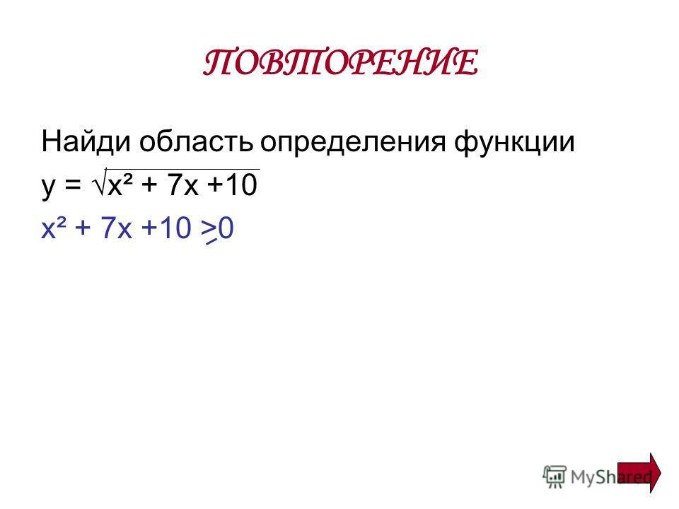ПОВТОРЕНИЕ Найди область определения функции y = х² + 7х +10 х² + 7х +10 >0