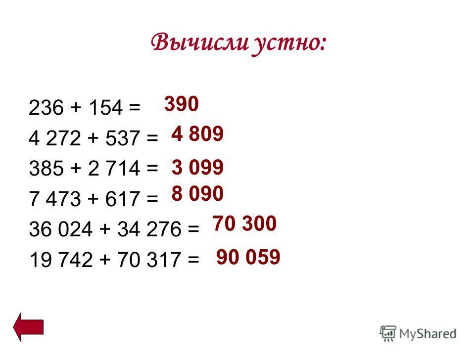 Вычисли устно: 236 + 154 = 4 272 + 537 = 385 + 2 714 = 7 473 + 617 = 36 024 + 34 276 = 19 742 + 70 317 = 390 4 809 3 099 8 090 70 300 90 059