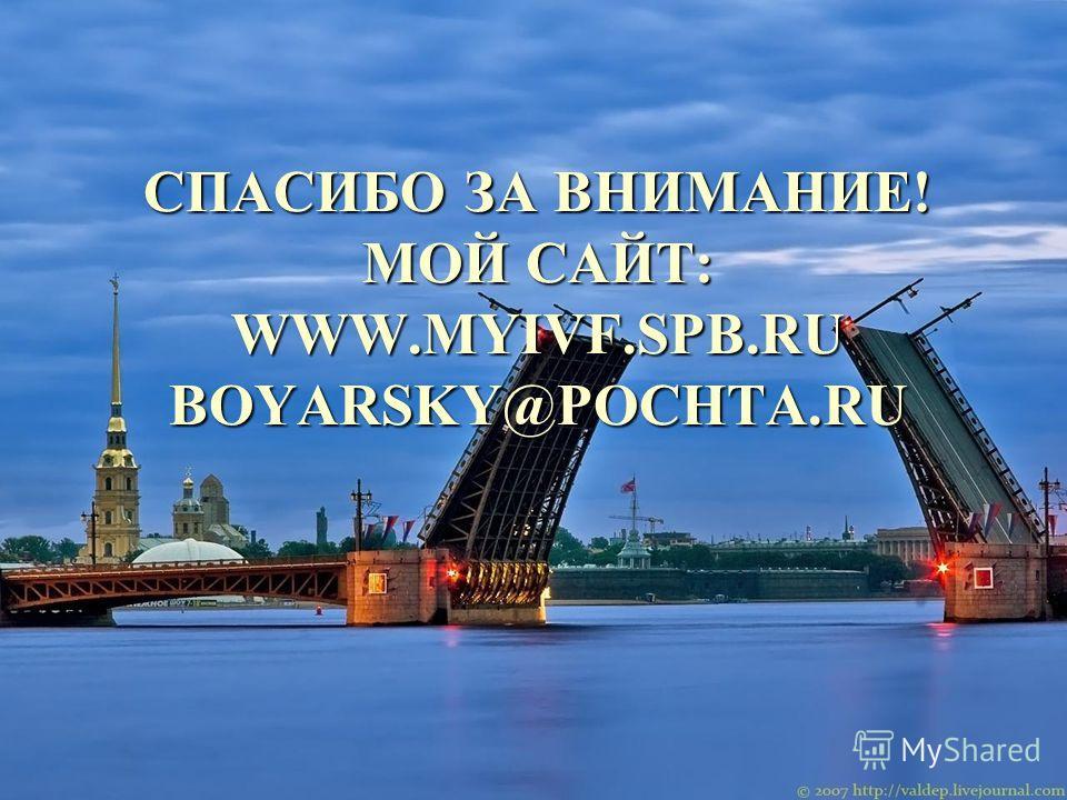 СПАСИБО ЗА ВНИМАНИЕ! МОЙ САЙТ: WWW.MYIVF.SPB.RU BOYARSKY@POCHTA.RU