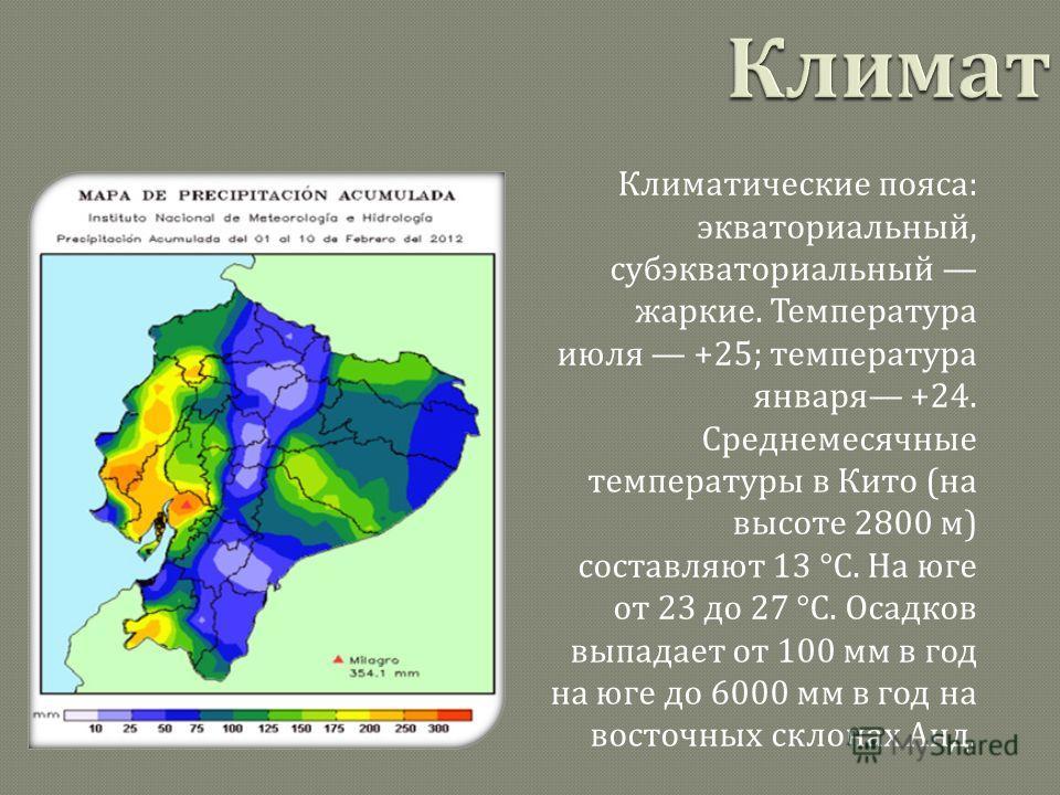 Климатические пояса : экваториальный, субэкваториальный жаркие. Температура июля +25; температура января +24. Среднемесячные температуры в Кито ( на высоте 2800 м ) составляют 13 °C. На юге от 23 до 27 °C. Осадков выпадает от 100 мм в год на юге до 6