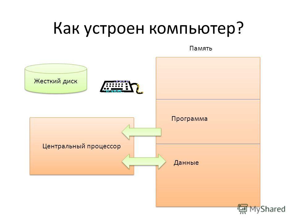 Как устроен компьютер? Центральный процессор Программа Данные Память Жесткий диск