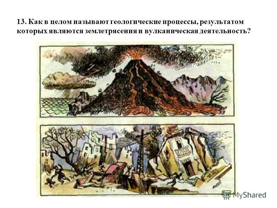 13. Как в целом называют геологические процессы, результатом которых являются землетрясения и вулканическая деятельность?
