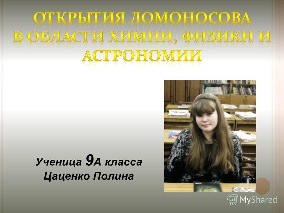 Ученица 9 А класса Цаценко Полина