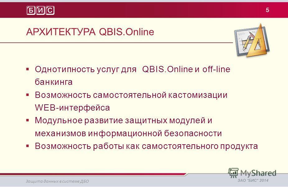 АРХИТЕКТУРА QBIS.Online Однотипность услуг для QBIS.Online и off-line банкинга Возможность самостоятельной кастомизации WEB-интерфейса Модульное развитие защитных модулей и механизмов информационной безопасности Возможность работы как самостоятельног