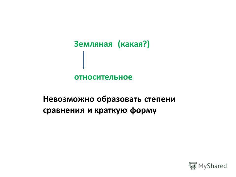 Земляная (какая?) относительное Невозможно образовать степени сравнения и краткую форму