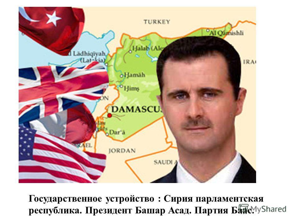 Государственное устройство : Сирия парламентская республика. Президент Башар Асад. Партия Баас.