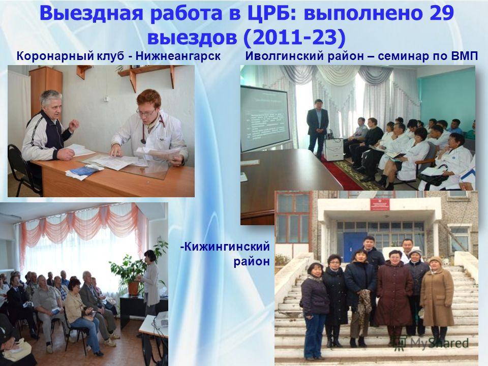 Выездная работа в ЦРБ: выполнено 29 выездов (2011-23) Коронарный клуб - НижнеангарскИволгинский район – семинар по ВМП -Кижингинский район