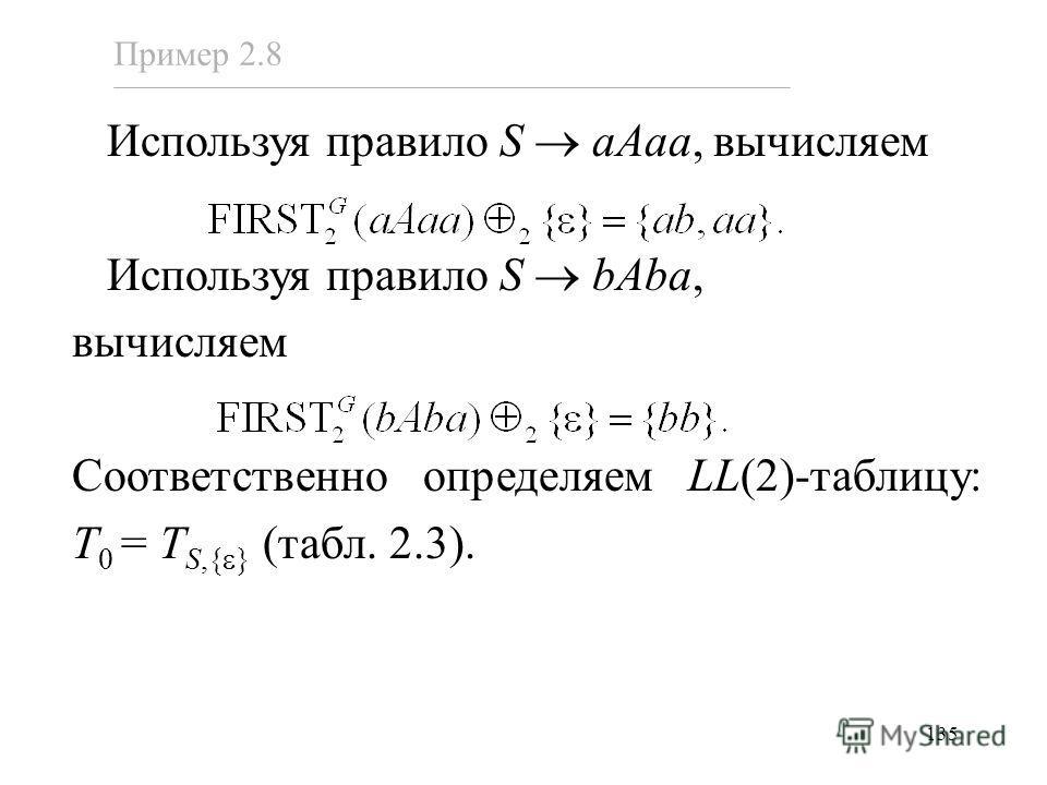 135 Используя правило S aAaa, вычисляем Используя правило S bAba, вычисляем Соответственно определяем LL(2)-таблицу: T 0 = T S,{ } (табл. 2.3). Пример 2.8