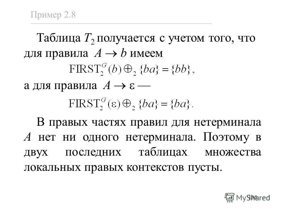138 Таблица T 2 получается с учетом того, что для правила A b имеем а для правила A В правых частях правил для нетерминала A нет ни одного нетерминала. Поэтому в двух последних таблицах множества локальных правых контекстов пусты. Пример 2.8