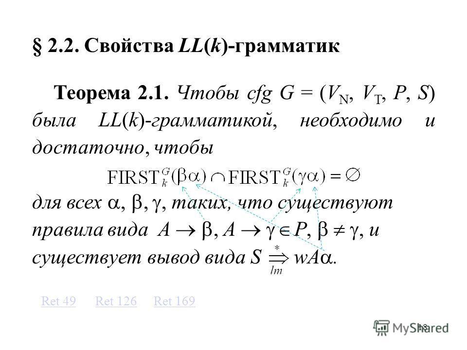 18 § 2.2. Свойства LL(k)-грамматик Теорема 2.1. Чтобы cfg G = (V N, V T, P, S) была LL(k)-грамматикой, необходимо и достаточно, чтобы для всех,,, таких, что существуют правила вида A, A P,, и существует вывод вида S wA. Ret 169Ret 126Ret 49