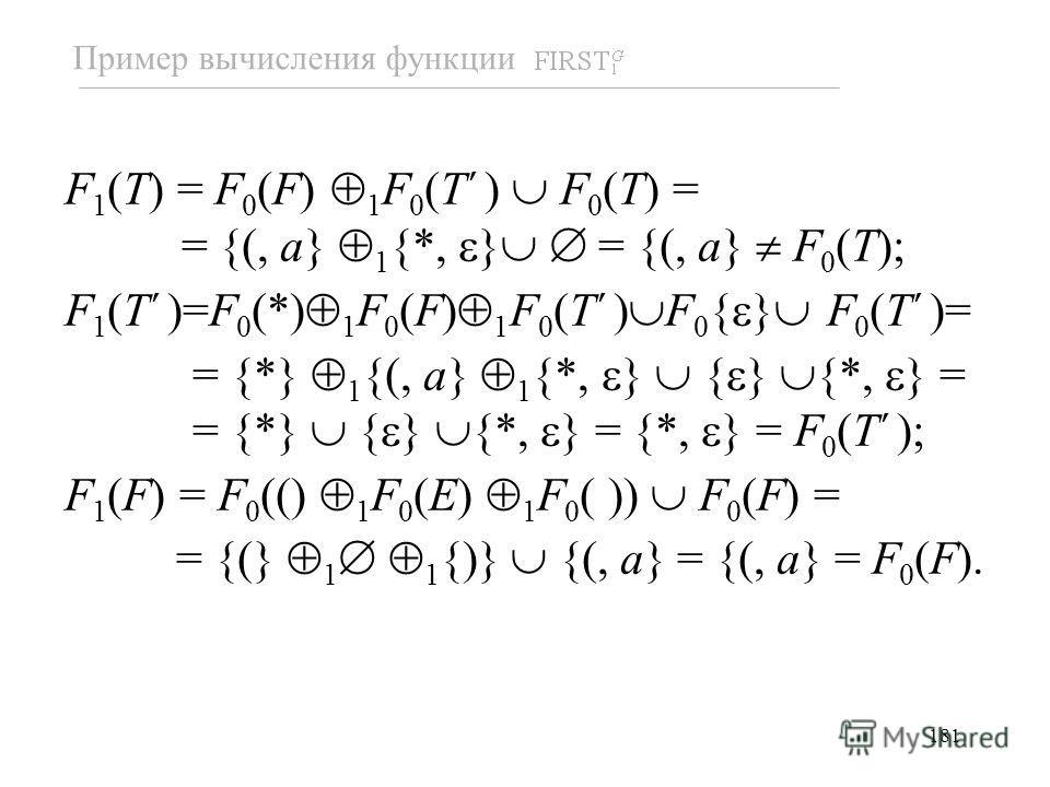 181 F 1 (T) = F 0 (F) 1 F 0 (T ) F 0 (T) = = {(, a} 1 {*, } = {(, a} F 0 (T); F 1 (T )=F 0 (*) 1 F 0 (F) 1 F 0 (T ) F 0 { } F 0 (T )= = {*} 1 {(, a} 1 {*, } { } {*, } = = {*} { } {*, } = {*, } = F 0 (T ); F 1 (F) = F 0 (() 1 F 0 (E) 1 F 0 ( )) F 0 (F