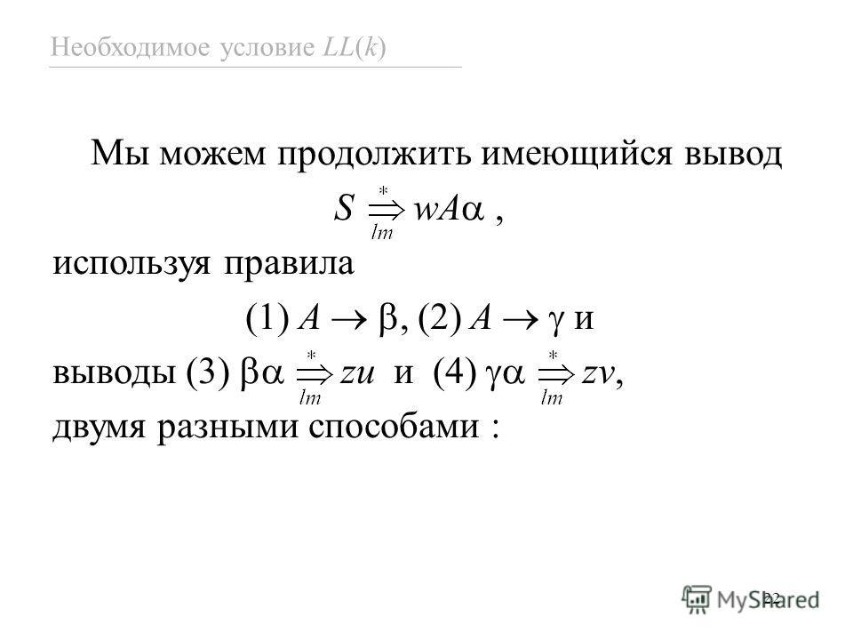 22 Необходимое условие LL(k) Мы можем продолжить имеющийся вывод S wA, используя правила (1) A, (2) A и выводы (3) zu и (4) zv, двумя разными способами :