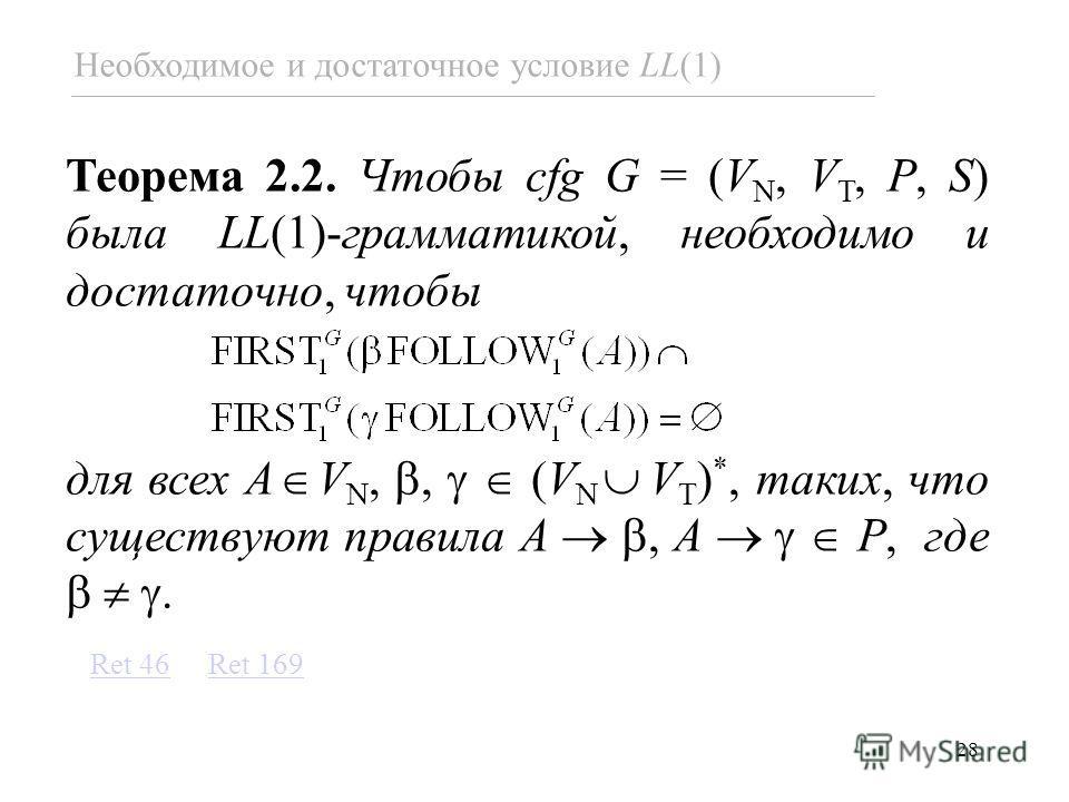 28 Необходимое и достаточное условие LL(1) Теорема 2.2. Чтобы cfg G = (V N, V T, P, S) была LL(1)-грамматикой, необходимо и достаточно, чтобы для всех A V N,, (V N V T ) *, таких, что существуют правила A, A P, где. Ret 169Ret 46