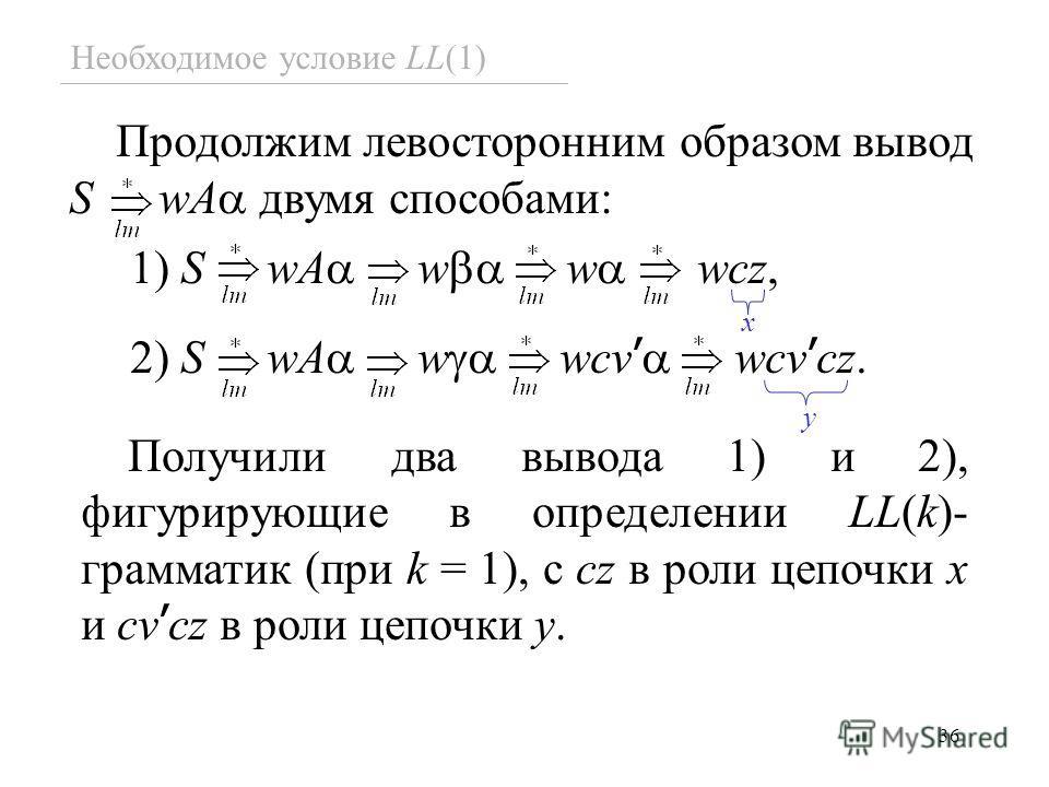 36 Необходимое условие LL(1) Продолжим левосторонним образом вывод S wA двумя способами: 1) S wA w w wсz, 2) S wA w wсv wсv сz. x y Получили два вывода 1) и 2), фигурирующие в определении LL(k)- грамматик (при k = 1), с cz в роли цепочки x и cv cz в