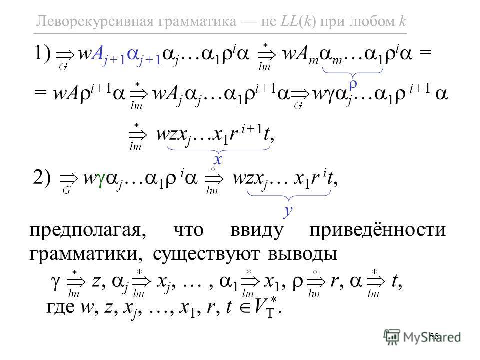 58 Леворекурсивная грамматика не LL(k) при любом k 1) wA j+1 j+1 j … 1 i wA m m … 1 i = = wA i+1 wA j j … 1 i+1 w j … 1 i+1 wzx j …x 1 r i+1 t, 2) w j … 1 i wzx j … x 1 r i t, y x предполагая, что ввиду приведённости грамматики, существуют выводы z,
