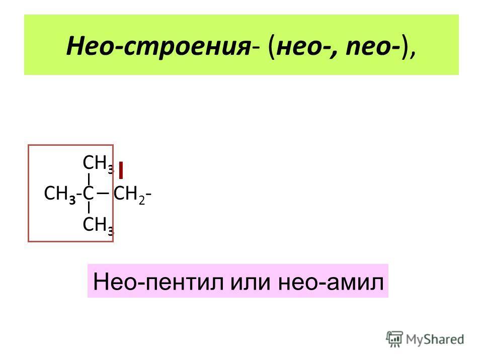 СН 3 СН 3 -С СН 2 - СН 3 Нео-пентил или нео-амил I Нео-строения- (нео-, neo-),