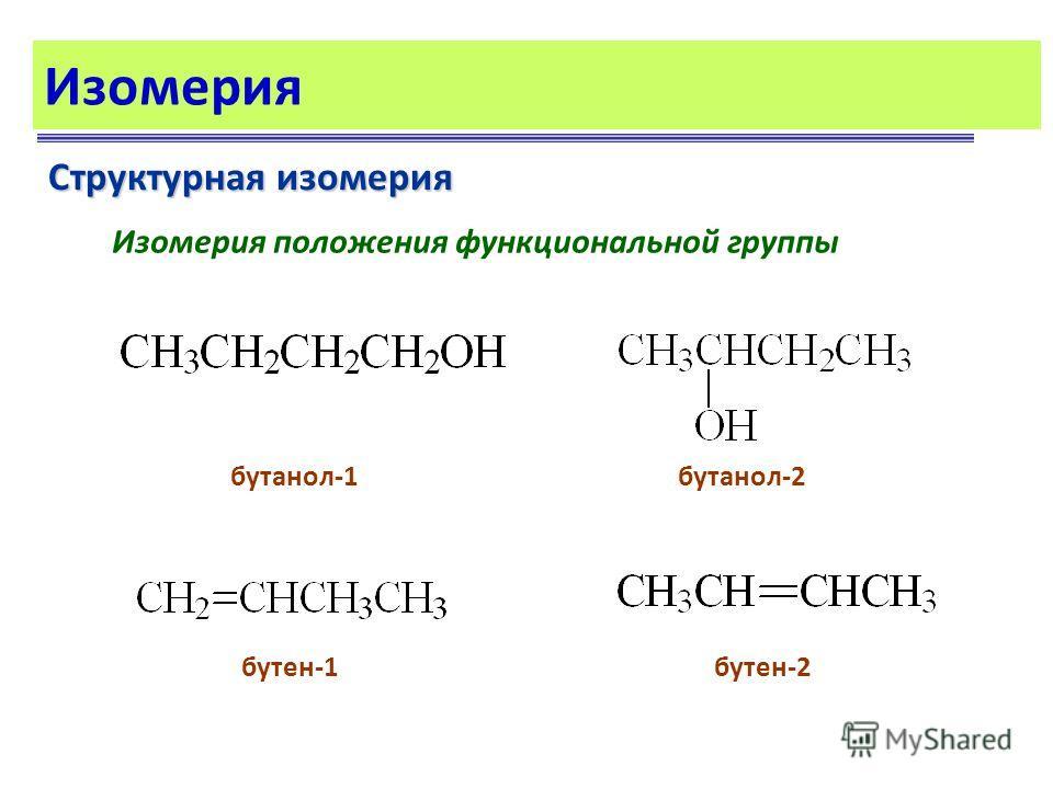 Изомерия Структурная изомерия Изомерия положения функциональной группы бутанол-1бутанол-2 бутен-1бутен-2