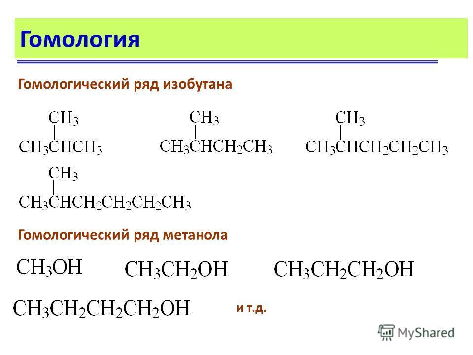 Гомология Гомологический ряд изобутана и т.д. Гомологический ряд метанола