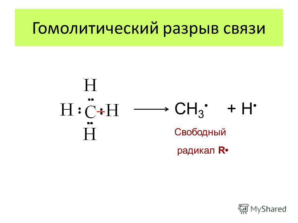 Гомолитический разрыв связи СН 3 + Н Свободный радикал R