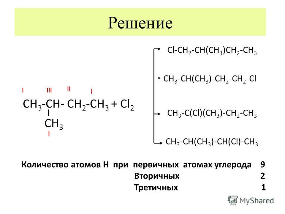 Решение СН 3 -СН- СН 2 -СН 3 + Сl 2 СН 3 Cl-CH 2 -CH(CH 3 )CH 2 -CH 3 CH 3 -CH(CH 3 )-CH 2 -CH 2 -Cl CH 3 -C(Cl)(CH 3 )-CH 2 -CH 3 CH 3 -CH(CH 3 )-CH(Cl)-CH 3 Количество атомов Н при первичных атомах углерода 9 Вторичных 2 Третичных 1 llll ll l l