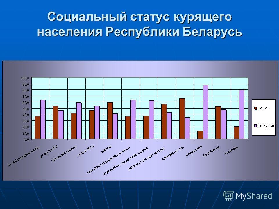 Социальный статус курящего населения Республики Беларусь