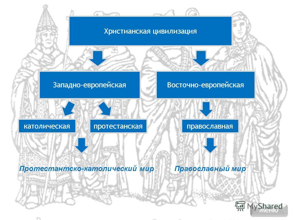 Христианская цивилизация Западно-европейскаяВосточно-европейская католическаяпротестанскаяправославная Протестантско-католический мирПравославный мир Меню