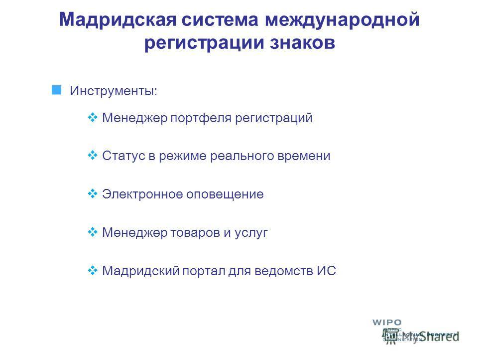 Инструменты: Менеджер портфеля регистраций Статус в режиме реального времени Электронное оповещение Менеджер товаров и услуг Мадридский портал для ведомств ИС
