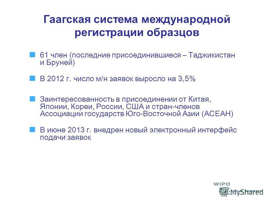 Гаагская система международной регистрации образцов 61 член (последние присоединившиеся – Таджикистан и Бруней) В 2012 г. число м/н заявок выросло на 3,5% Заинтересованность в присоединении от Китая, Японии, Кореи, России, США и стран-членов Ассоциац