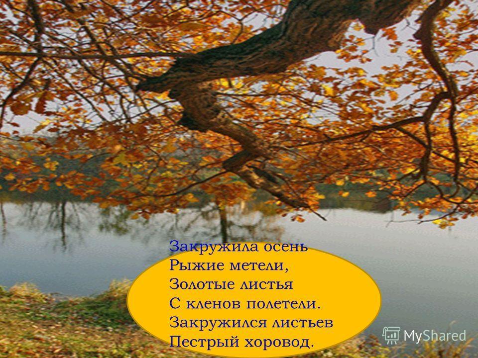 Закружила осень Рыжие метели, Золотые листья С кленов полетели. Закружился листьев Пестрый хоровод.