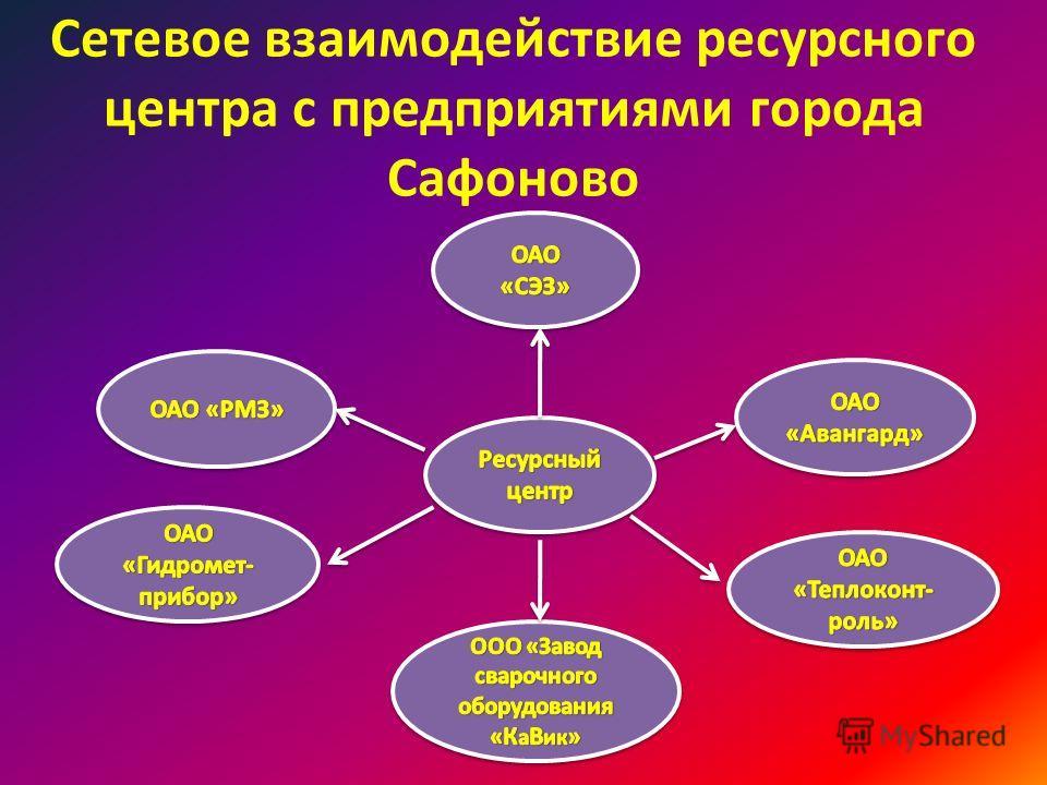 Сетевое взаимодействие ресурсного центра с предприятиями города Сафоново