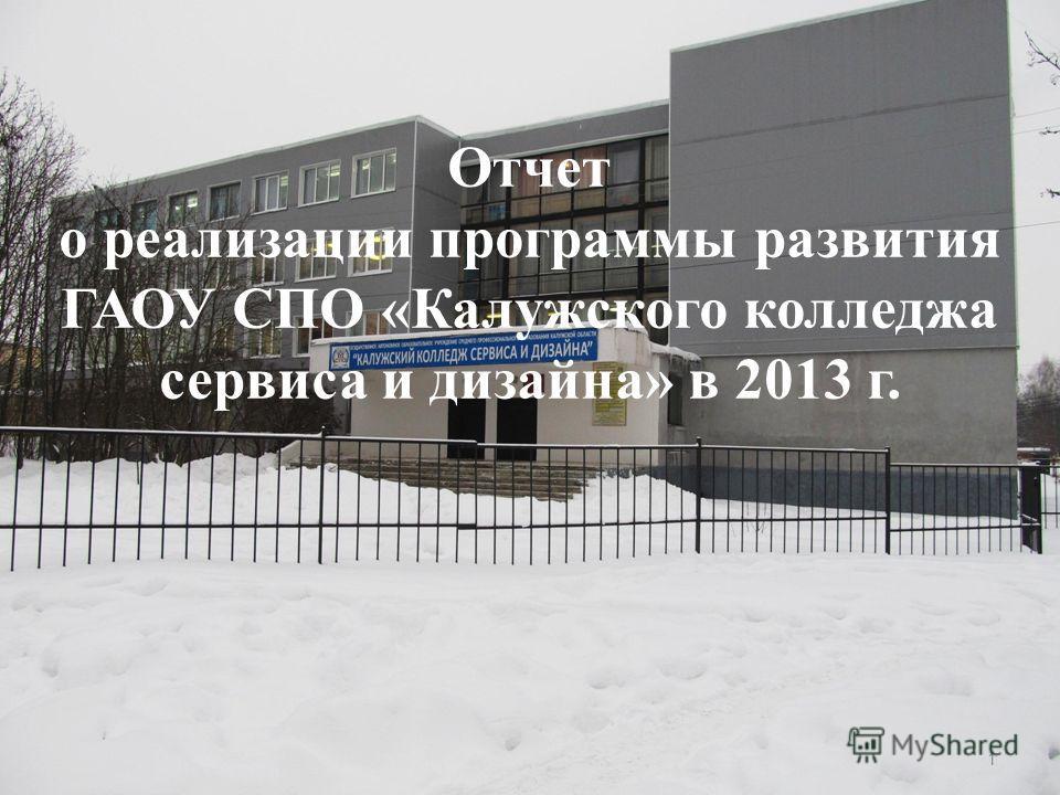 Отчет о реализации программы развития ГАОУ СПО «Калужского колледжа сервиса и дизайна» в 2013 г. 1