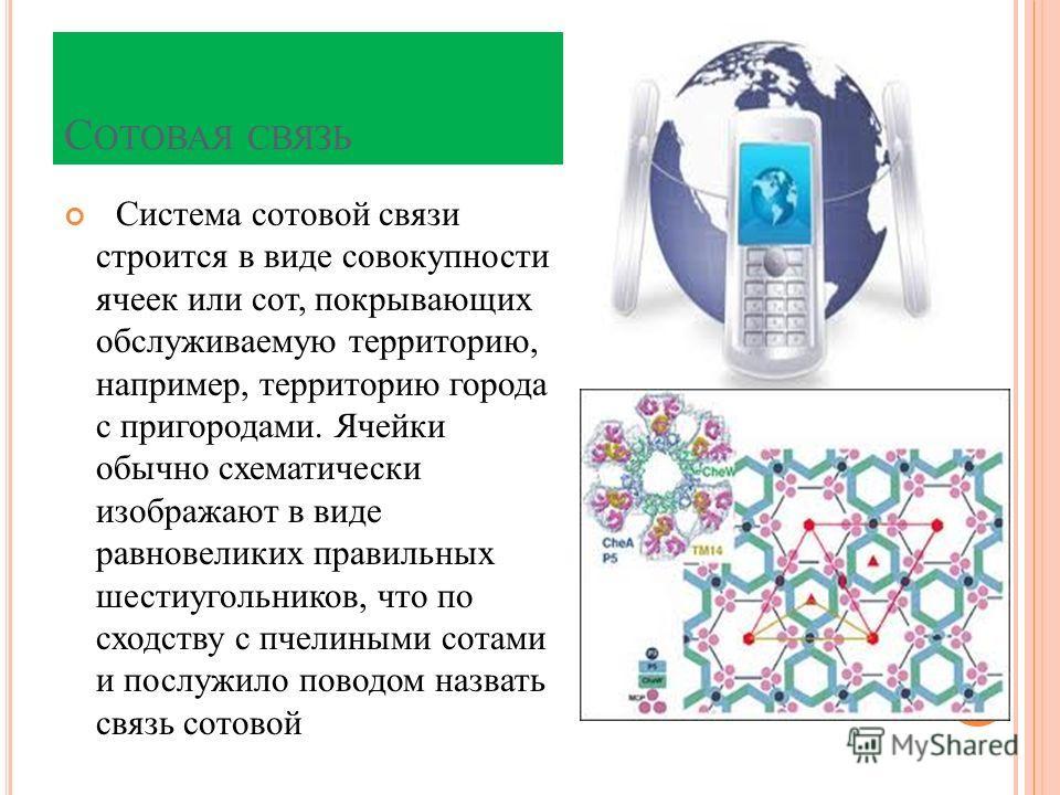 С ОТОВАЯ СВЯЗЬ Система сотовой связи строится в виде совокупности ячеек или сот, покрывающих обслуживаемую территорию, например, территорию города с пригородами. Ячейки обычно схематически изображают в виде равновеликих правильных шестиугольников, чт