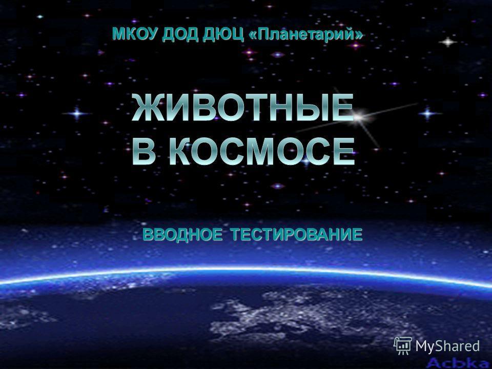МКОУ ДОД ДЮЦ «Планетарий» ВВОДНОЕ ТЕСТИРОВАНИЕ