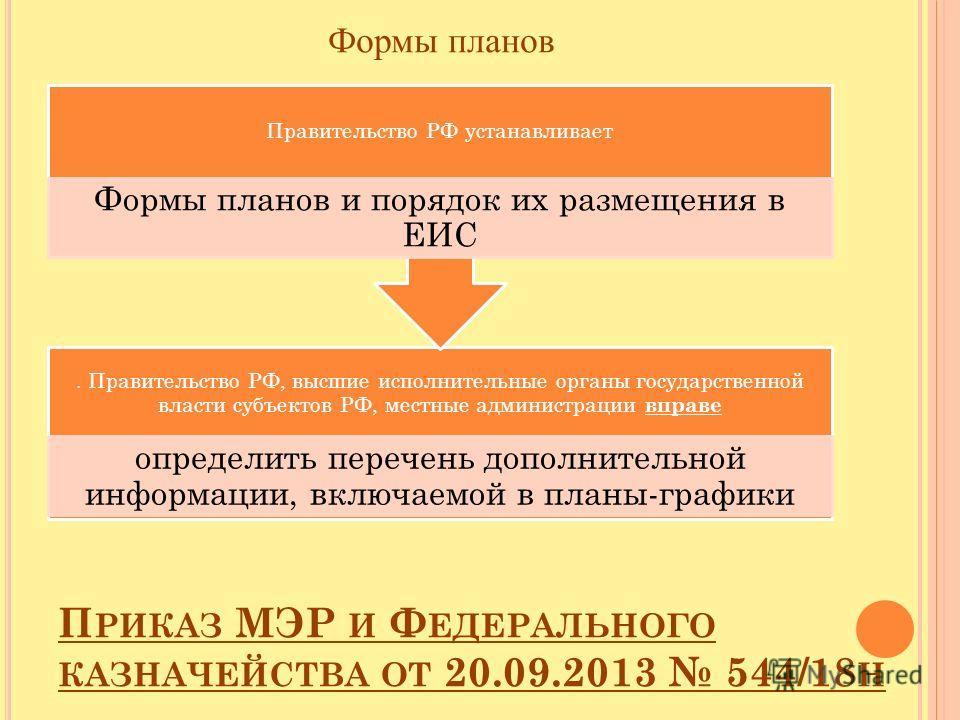 Формы планов. Правительство РФ, высшие исполнительные органы государственной власти субъектов РФ, местные администрации вправе определить перечень дополнительной информации, включаемой в планы-графики Правительство РФ устанавливает Формы планов и пор