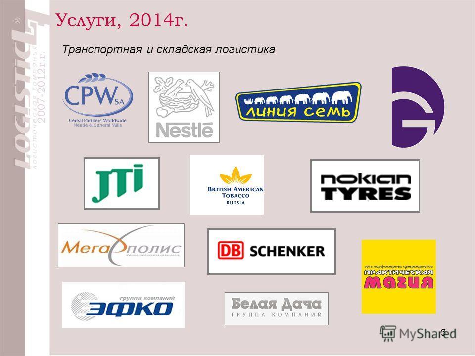 Услуги, 2014г. 3 Транспортная и складская логистика 2007-2012г.г.